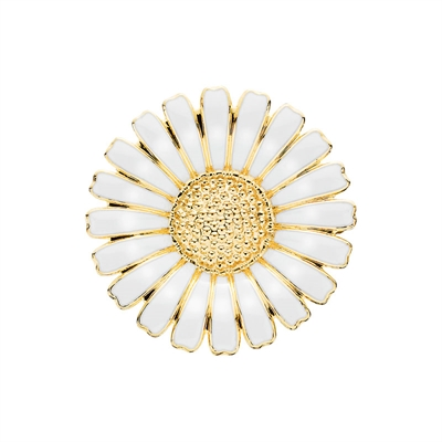 Forgyldt Marguerit broche i Sølv - 36 mm