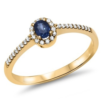 Ring i 14 kt. Guld med Safir & Diamanter - 0,12 ct.