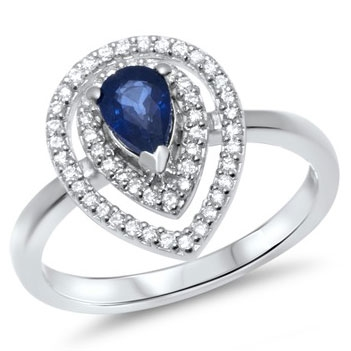 Ring 14 kt. hvidguld m. safir og diamanter
