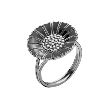 Marguerit ring sort rhodineret 18 mm
