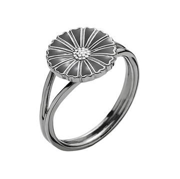 Marguerit ring sort rhodineret 11 mm