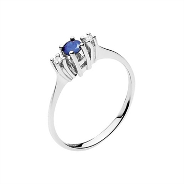 Ring i 14 kt. Hvidguld med Safir & Diamanter