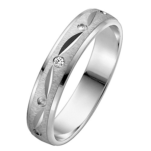 Vielsesring i Palladium med Diamant 0,015 ct. - 4 mm