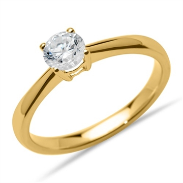Solitairering i 14 kt. Guld - 0,50  ct