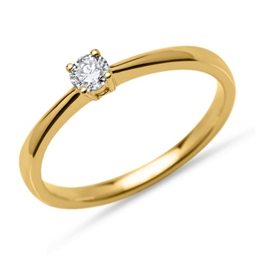 Solitairering i 14 kt. Guld - 0,15 ct