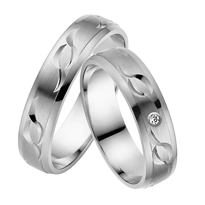 Vielsesringe i Palladium med Diamant - 0,02 ct. - 5 mm
