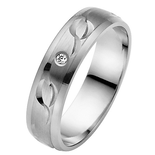 Vielsesring i Palladium med Diamant - 0,02 ct. - 5 mm
