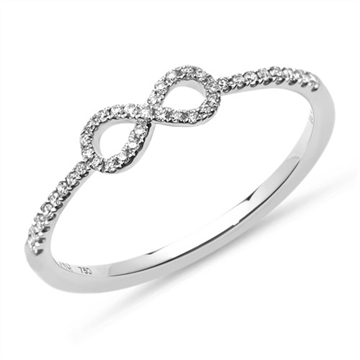 Infinity ring i 18 kt. Hvidguld med Diamanter