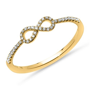 Infinity ring i 18 kt. Guld med Diamanter - 0,14 ct.