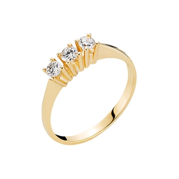 Ring i 14 kt. Guld med Diamanter - 0,33 ct.