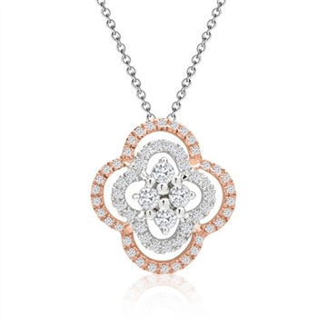 Collier i 14 kt. Rosa & Hvidguld med Diamanter - 0,15 ct.