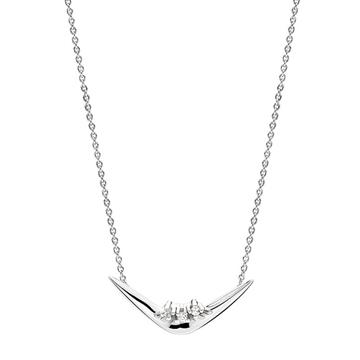 Collier i 14 kt. Hvidguld med Diamanter