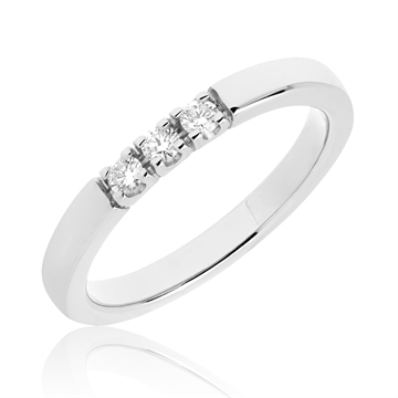 BARTOLI Alliancering i 14 kt. Hvidguld - 0,15 ct
