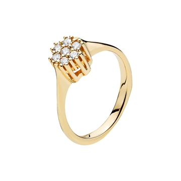 Ring i 14 kt. Guld med Diamanter - 0,21 ct.