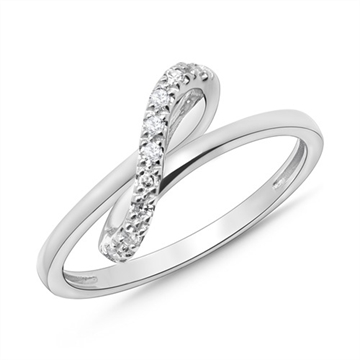 Infinity ring i 14 kt. Hvidguld med Diamanter
