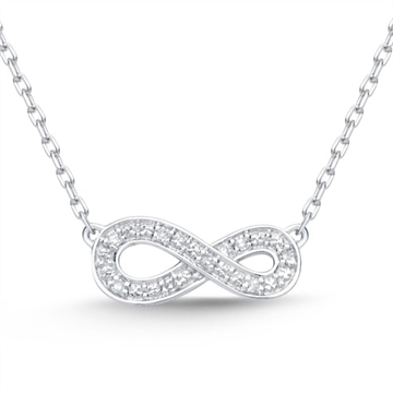 Infinity collier i 14 kt. Hvidguld med diamanter