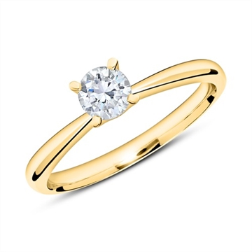 Solitairering 14 kt. Guld med Diamant - 0,50 ct.