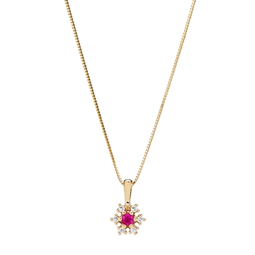 Collier i 14 kt. Guld med Rubin og Diamanter - 0,12 ct.