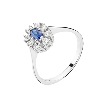 Ring i 14 kt. Hvidguld med Safir og Diamanter