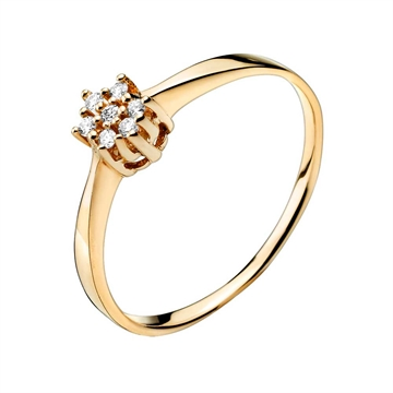 Ring i 14 kt. Guld med Diamanter 0,07 ct.