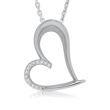 Collier i 14 kt. Hvidguld m. diamanter